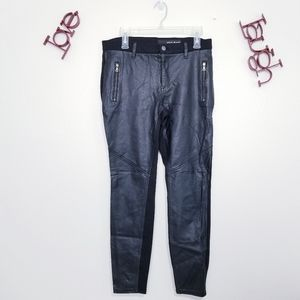 DKNY JEANS Faux Leather Front Skinny Pants 8